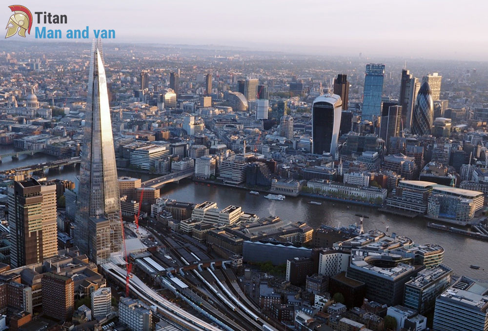 Aerial view of urban London